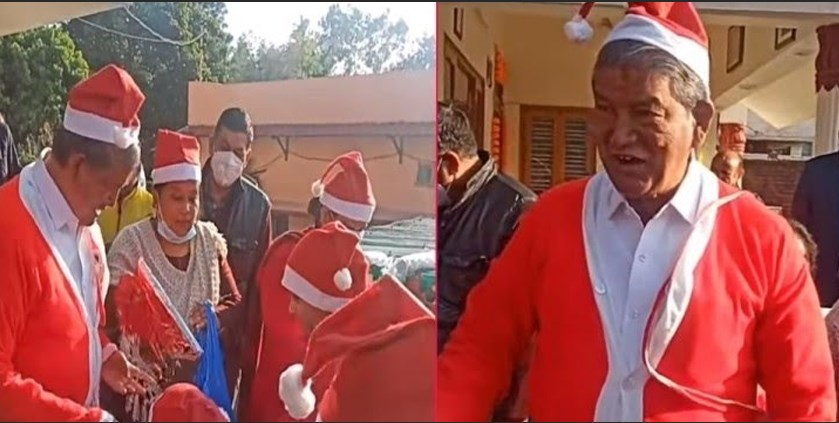 CM Harish Rawat arrives among children on the occasion of Christmas as Santa Claus