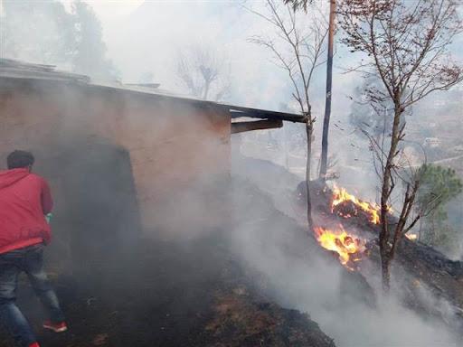 उत्तराखंड : जंगल की आग से ४ गौशाला जलकर राख हो गई