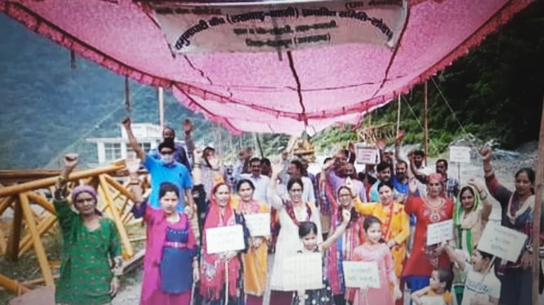 उत्तराखंड : भूमि के बदले भूमि लोहारी के किसानो का अधिकार , धरना प्रदर्शन का 71वाँ दिन