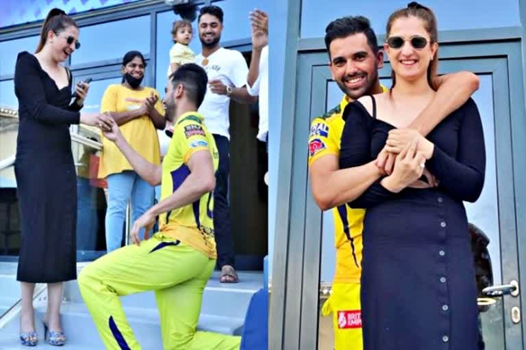 IPL ने बनाई जोड़ी मैच खत्म होते ही CSK के गेंदबाज ने मैदान में गर्लफ्रेंड को किया प्रपोज